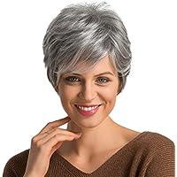 Sharplace Donna Capelli Corti Capelli Grigi Straight Straight Fluffy Shaggy  Layered Wig 10 pollice - Grigio 67c27562447c