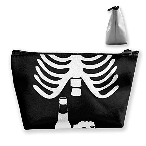 Schädel Brustkorb Skelecton Halloween-Bier Make-up-Beutel Reisetaschen Stift Bleistift Aufbewahrung des Reißverschlusses
