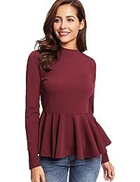12c25a8e253d ROMWE Damen Gerippt Langarmshirt mit Volant Saum Elegant Frühling Herbst Shirt  Oberteil