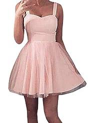 TIMEMEAN Mujer Vestido Encaje Corto CóCtel De Tul Noche De Baile Partido Vestido De Dama De Honor Vestido