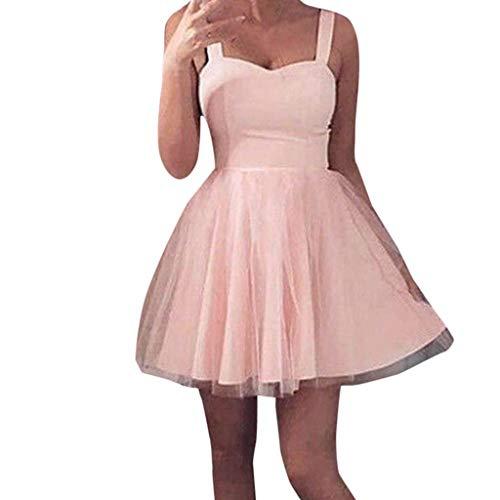 WOZOW Damen Kleider Hosenträger Kleid Schlupfkleid ärmellos Tunika Eine Linie Tutu Rock Sexy Tüllrock Elegant Frauen Minirock (XL =EU:40-42,Rosa)