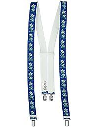 Hochwertige Edelweiß 4 Clips Hosenträger von Xeira® - Verfügbar in 20 Farben / Schwarz / Grün / Orange / Gelb / Grau / Silber / Blau / Braun / Pink