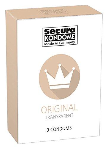 Secura Original 3er Kondome - drei transparente Präservative zur Verhütung ohne Hormone für Männer, extra feucht mit Reservoir