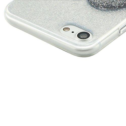 iPhone 7 Hülle, Fraelc iPhone 8 Schutzhülle Transparent TPU Bumper Case Shining Glitzer Soft Silikon Gel Cover mit Herz Muster Staubstecker Handyhülle für iPhone 7 / iPhone 8 4,7 Zoll in Silber Schwarz