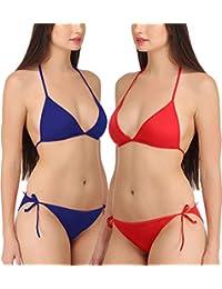 FIMS® Women s Girls Satin Nylon Lycra Spandex (4 Way) Sexy Bridal Honeymoon  Beach Wear Bra Panty Bikini 08dda972b