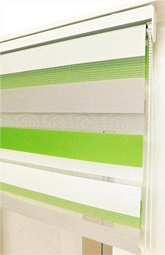 Estor noche y día enrollable a medida BASIC TRICOLOR verde - gris - blanco. Medida 164cm x 180cm para ventanas abatibles y puertas.
