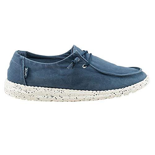 Womens Casual Deck-schuh (Dude Shoes Frauen Wendy Gewaschen Stahl Blau UK8 / EU41)