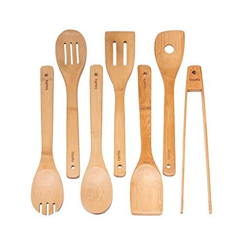 Ustensiles De Cuisine En Bois De Bambou - Set de 7 Accessoires Anti-Rayures (Cuillères, Spatules, Pinces) - Ensemble Ustensiles De Cuisine En Bambou 100% Écologiques Et Naturels - BlauKe