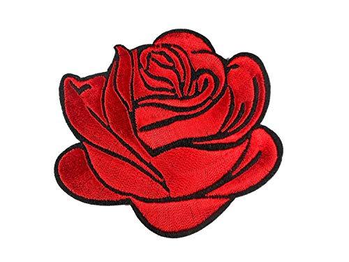 Patch rote Rose 7 x 8 cm Aufbügler Aufnäher Lifestyle Deko Neu GST 318 -
