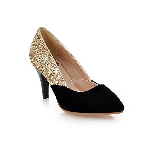 AllhqFashion Femme Dépolissement Tire Pointu Fermeture D'Orteil à Talon Haut Chaussures Légeres Noir