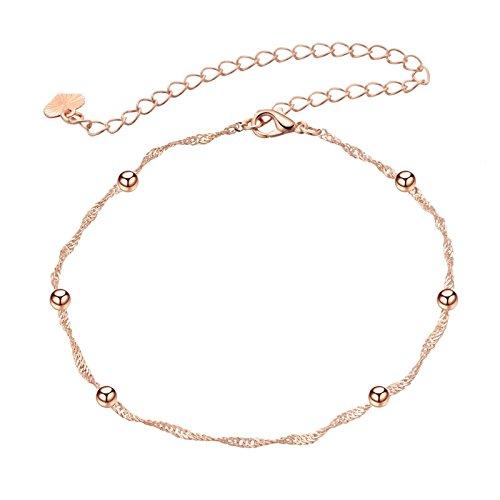 Daesar Fußkette Damen Rosegold Panzerkette mit Beads Vergoldet Fusskette Orientalisch