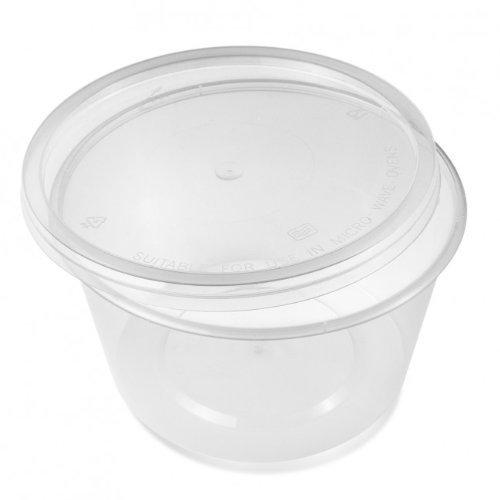 Thali Outlet 500ml, für Mikrowelle, klar, Kunststoff, Lebensmittel-Behälter mit Deckel, Einfrieren, zum Mitnehmen heißer und kalter Lebensmittel (Klare Für Behälter Lebensmittel)