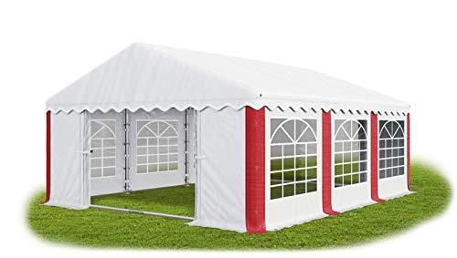 Das Company Partyzelt 4x6m wasserdicht weiß-rot mit Bodenrahmen Zelt 240g/m² PE Plane hochwertig Gartenzelt Summer Floor PE -