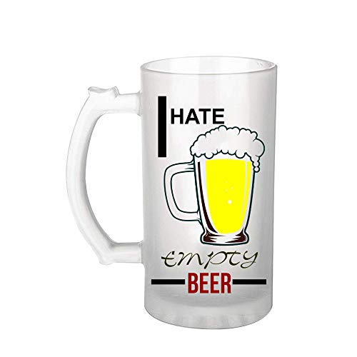 Ezellohub Beer Glass Frosted Printed Beer Mug, 500 ML, Gift for Brother Gift for Friedd/Birthday/New Year/Husband/Brothers/Best Friend/Boy Friend (Beer)