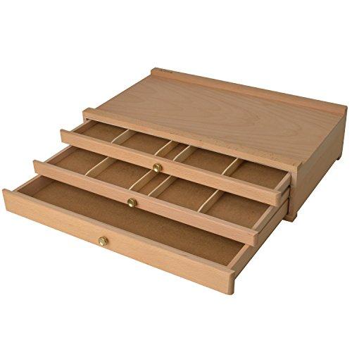 Artina Holzkasten Troyes mit 3 Schubladen 40x10x25cm (BxHxT) - aus Buchenholz - Ideal zum Aufbewahren vom Malutensilien (Kunst-schubladen)