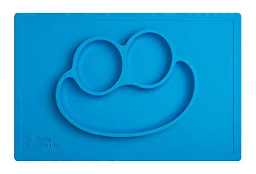 Baby Turnip Fun Meal Placemat (Blue) - Silicone Baby Plate amp; Placemat