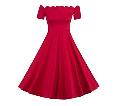 Damen Kurze Ärmel 50S Vintage Stehkragen Cocktailkleider Rockabilly Faltenrock Abendkleider (S)