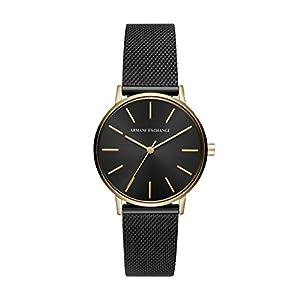Armani Exchange Damen-Armbanduhr Quarz One Size, schwarz, schwarz