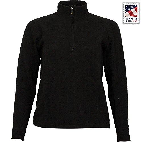 PolarMax Unisex Jugend-Quattro Fleece Long Sleeve Zip Mock, Kinder, schwarz