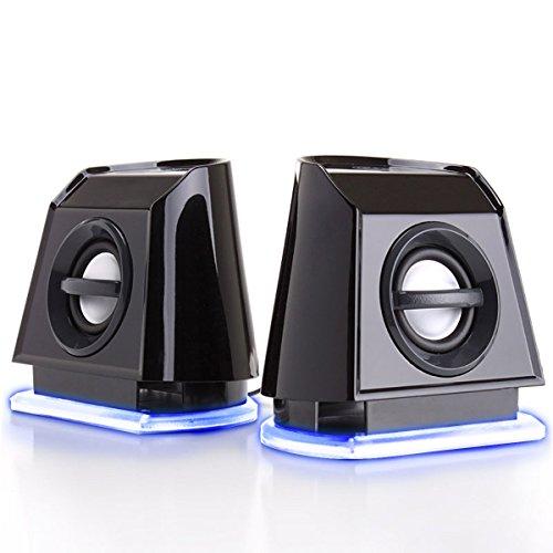 GOgroove PC Lautsprecher für Computer & Laptop, kleine 2.0 Stereo Speaker mit blauen LED Lights, leistungsstarkem Bass und passiven Subwoofern, USB betrieben