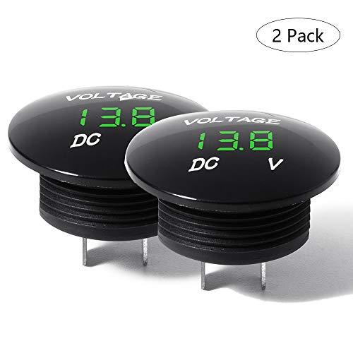 Etrogo LED Indicador de Bateria Universal Impermeable IP68 Voltímetro para DC 12v...