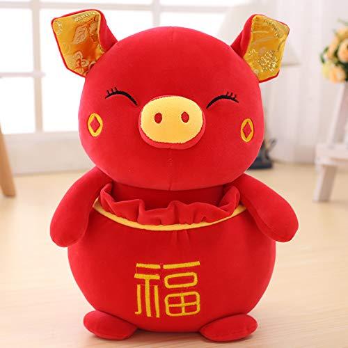(DONGER Pig Year Maskottchen Fubao Schwein Figur Spielzeug Ferkel Puppe Zodiac Schwein Unternehmen Jährliche Versammlung Geschenk, Gelbe Segen Tasche Schwein, 25 cm)