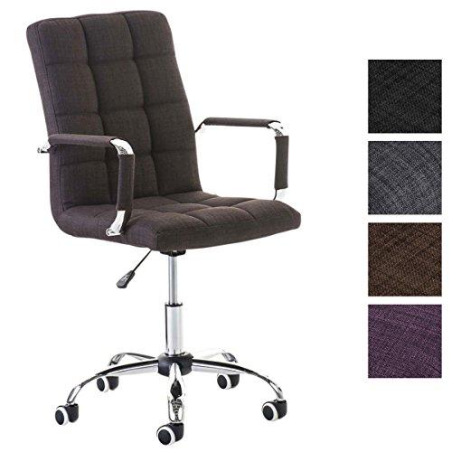 Clp sedia da ufficio deli v2 con rivestimento in tessuto, girevole, 5 ruote, braccioli | ergonomica sedia pc imbottita | fodera in poliestere e base in metallo, facile da pulire marrone