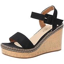 Sandalias Mujer Verano,Mujeres pescado boca plataforma tacones altos sandalias cuña hebilla sandalias de la