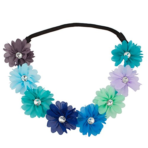 LUX Zubehör Multi Color Dark Rainbow Floral Blume Kristall Stretch Stirnband Head (Groß Rainbow Hut)