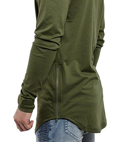 Phoenix Oversize Longsleeve T-Shirt Herren Langarm Longshirt mit Reißverschluss Olive
