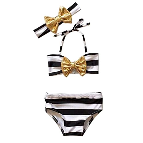 Badebikini zahuihuiM 3 Stück Kinder Mädchen Streifen Bowknot Bikini Badeanzug (130, (Kostüm 1 Jahr Alt Meerjungfrau Kleine)