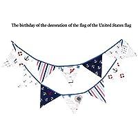 Liteness 12 Banderas Banderas de banderines de Tema Pirata, Banderas de banderines de Tela de algodón, Guirnaldas de Banderas, Bodas/Cumpleaños/Fiesta de Bienvenida al bebé.