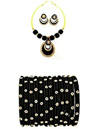 Black And Gold Colour Silk Thread Necklace With Matching Silk Thread Bangles And Earrings