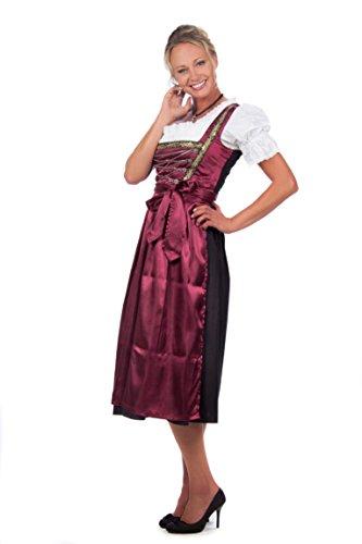 Midi Dirndl 3-tlg. schwarz rot mit passender Bluse und Schürze Gr. 32-60 Rot