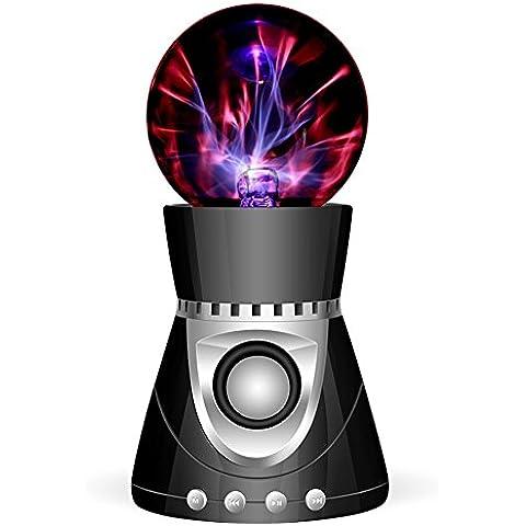 Garyesh Altoparlante Bluetooth Creativa Magica Sfera di Luce Tocco del Plasma (Nero-Argento)