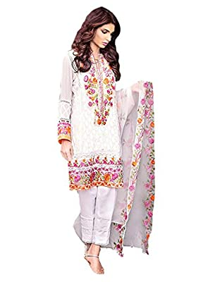 JKSM Women's New Arrival Best Sale with Offer Discount Designer Collection Suits Dress in White Latest Design for Brander Georgette Embroidered Fancy Straight Style Festive Occasion Wedding Party Wear Salwar Suit Dupatta(Free-Size_Pakistani-White)
