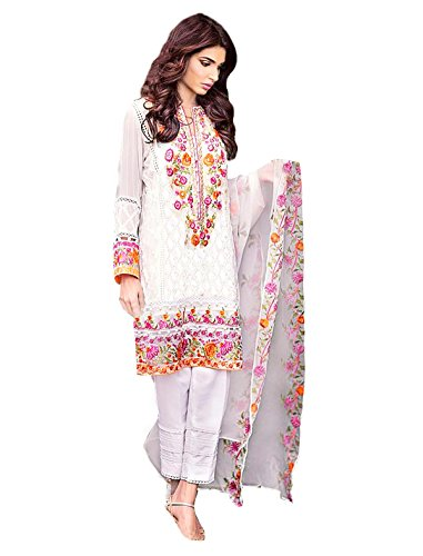 JKSM Women's Georgette Embroidered Straight Salwar Suit Dupatta(White_Free-Size_Pakistani-White)