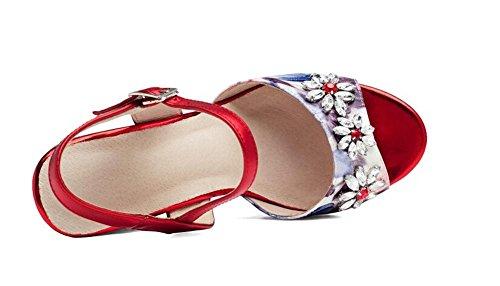 Beauqueen Keil Peep-Toe Knöchelriemen Plattform Sandalen Einfache Frauen Casual Work Strand Sandalen Europa Größe 34-39 Red