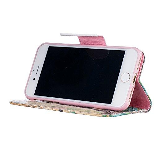 Etui iPhone 7 Plus , Anfire Plume et Attrape Reve Motif Peint Mode PU Cuir Étui Coque pour Apple iPhone 7 Plus (5.5 Plus pouces) Housse de Protection Luxe Style Livre Pochette Étui Folio Rabat Magnéti Tour Eiffel