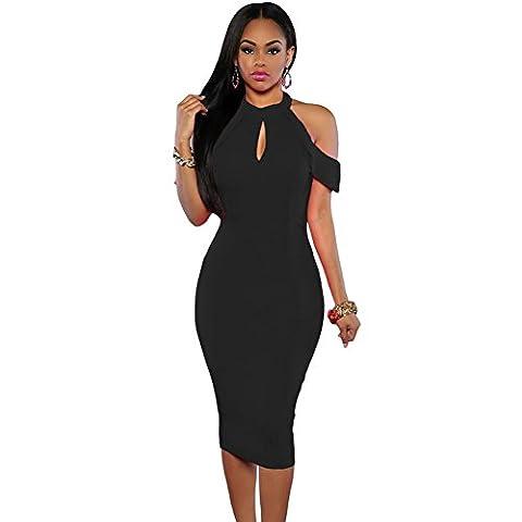 meinice schwarz Süßes Kalte Schulter Ausschnitt Neckholder Midi Kleid Gr. M, schwarz