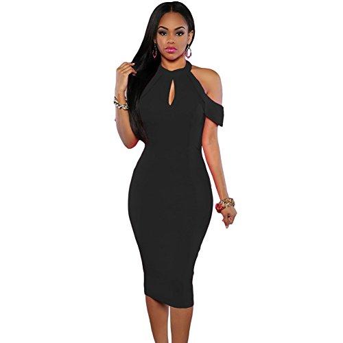 meinice schwarz Süßes Kalte Schulter Ausschnitt Neckholder Midi Kleid Gr. Medium, schwarz (Gap-schwarz-bhs)