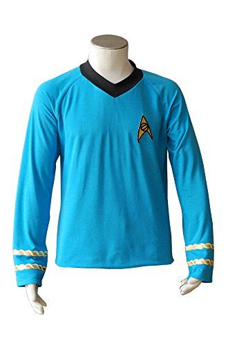 Original Serie Trek Star Uniform Kostüm - MingoTor Star Trek TOS The Original Series Spock Blue Shirt Uniform Cosplay Kostüm Herren XL