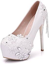 Taladro de agua perla con fino encaje blanco agua high heels wedding shoes ,blanco,40