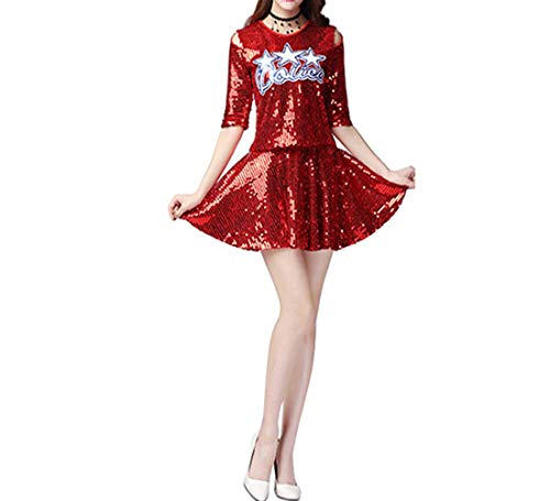 (Fuyingda Frauen Cheerleading Set - Jazz Dance Kostüm Pailletten Modern Dance Top Dress Set Fancy Party Schwestern Performance Kostüm)