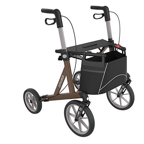 Outdoor Rollator, leicht faltbarer Alu-Rollator mit großen, weichen Rädern (M - Mittelgroß)