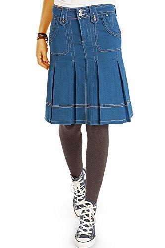 Bestyledberlin Damen Jeansrock, Ausgestellter Faltenrock, Denim Rock knielang, Taillenröcke r20p 40/L dunkelblau (Tasche Denim Mini-rock)
