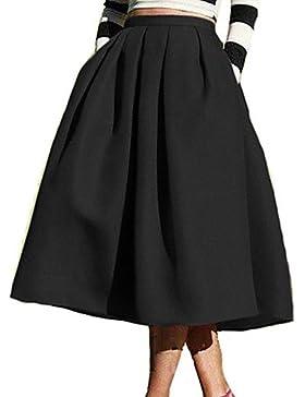 Mujer Faldas,Línea A Un Color Tiro Alto Casual/Diario Midi Elasticidad Poliéster Micro-elástica Otoño , s