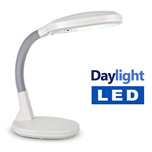 Minisun High Power Led Daylight 9w Adjustable Grey Reading Desk Light Table Lamp With Flexi Neck - Comes Complete With Led Bulb