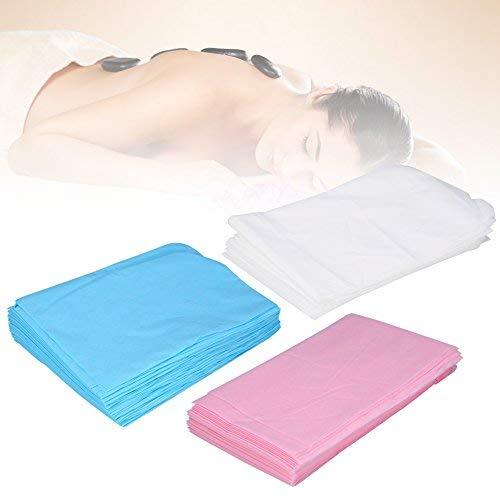 Qkiss lenzuolo da massaggio da 10 pezzi, lenzuolini monouso impermeabili, lenzuola massaggianti cosmetici tessuto forato, 180 * 80cm(bianca)