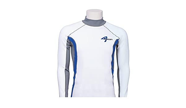 Ascan Maillot Manches Longues Protection UV Lycra Blanc//Bleu rashuguard Surf Kite Wake